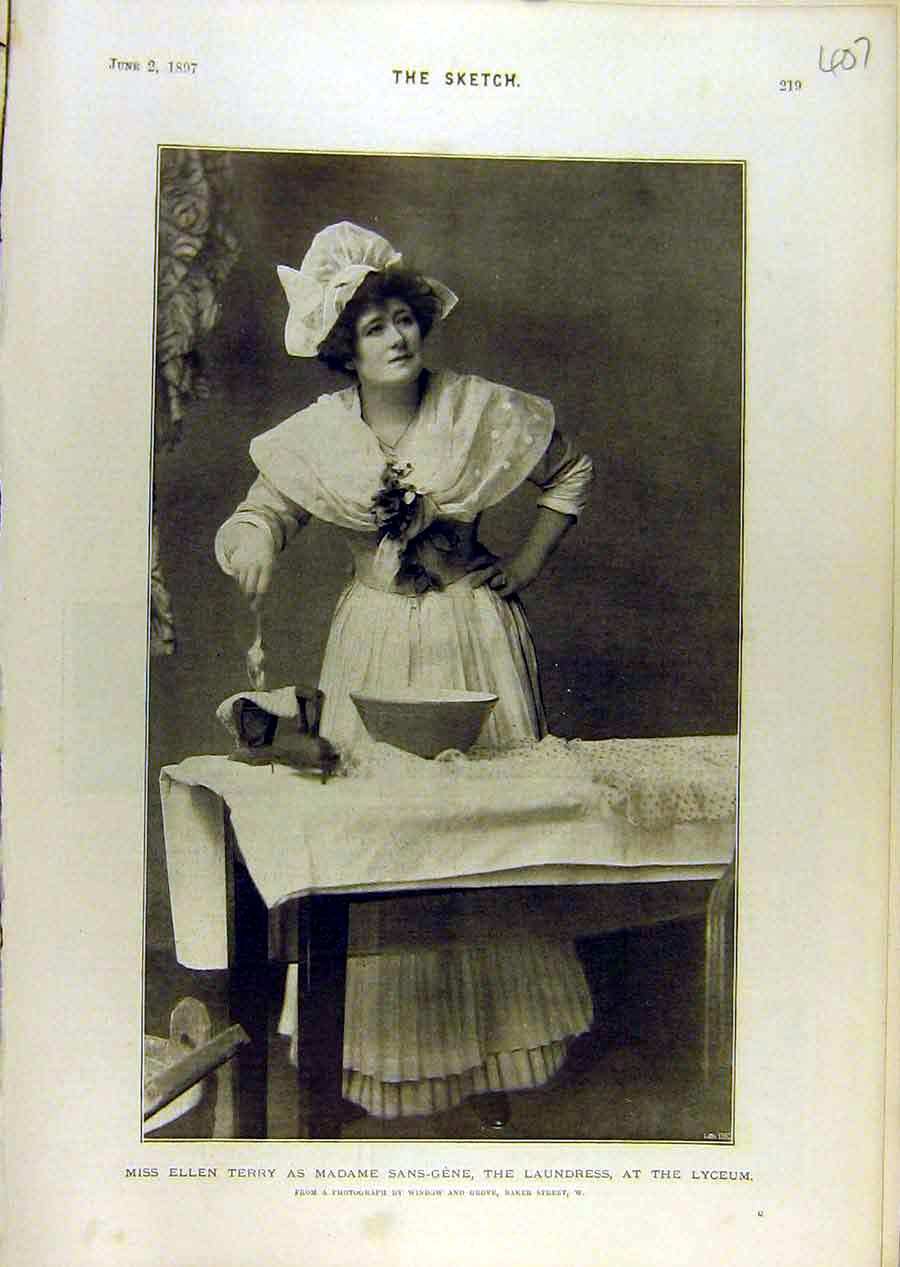 Print 1897 Ellen-Terry Actress Lyceum Laundress Sans-Gene 078671 Old Original