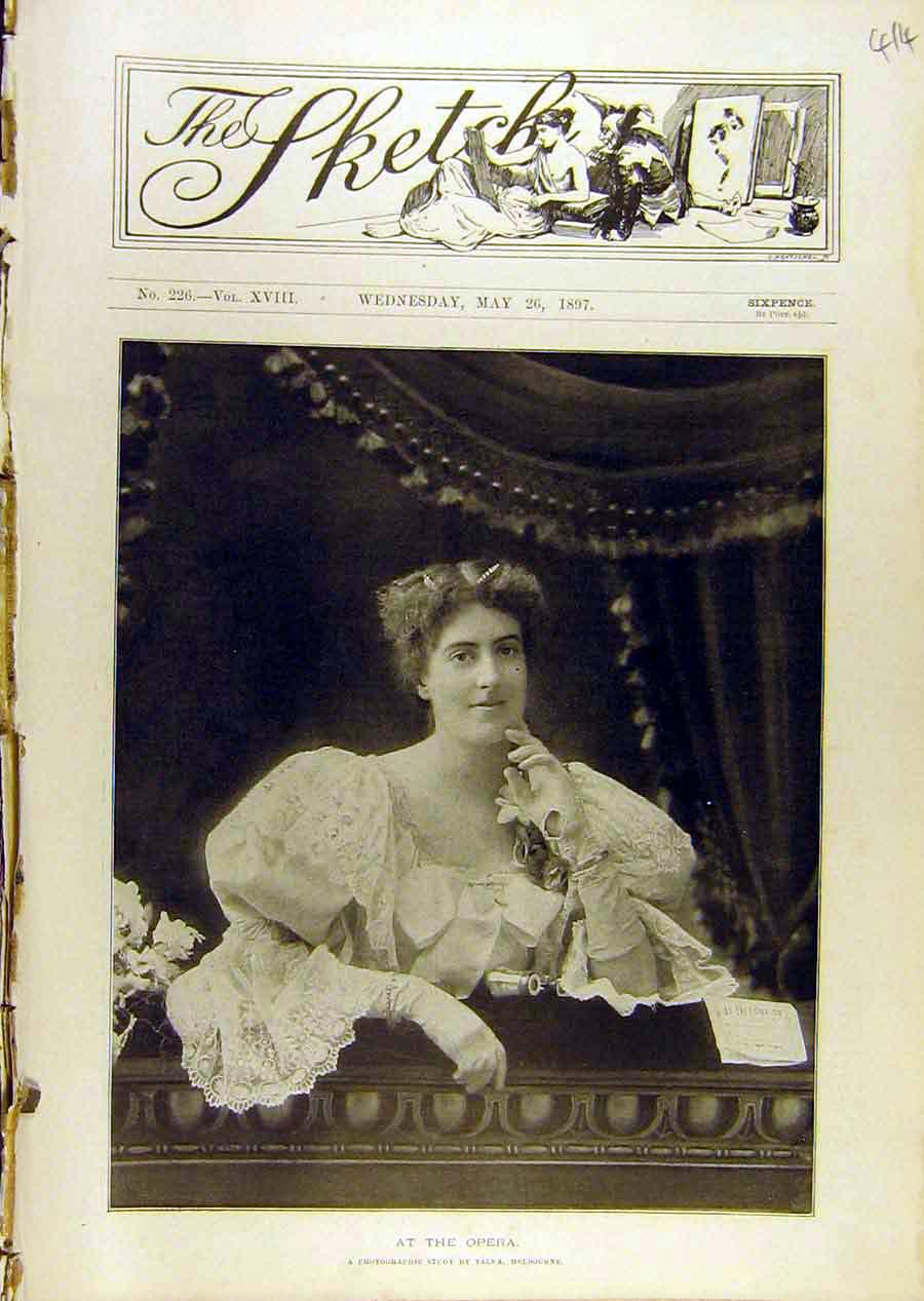 Print 1897 Opera Portrait Lady Box Theatre 148671 Old Original
