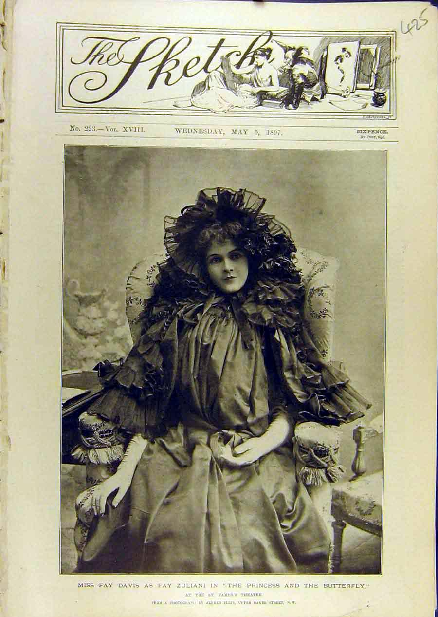 Print 1897 Portrait Fay-Davis Princess Butterfly Theatre 258671 Old Original