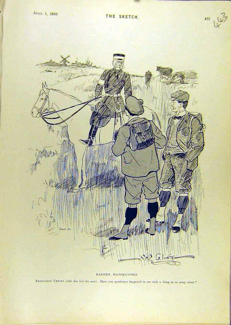 Print 1896 Sketch Easter Manoeuvres Military Umpire Farmer 438671 Old Original