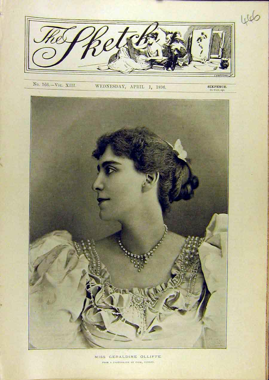 Print 1896 Portrait Geraldine-Oliffe Lady Woman 468671 Old Original
