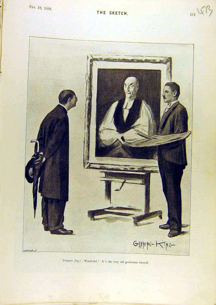 Print 1896 Curate Sketch Comedy Gent Portrait Gunning King 738671 Old Original