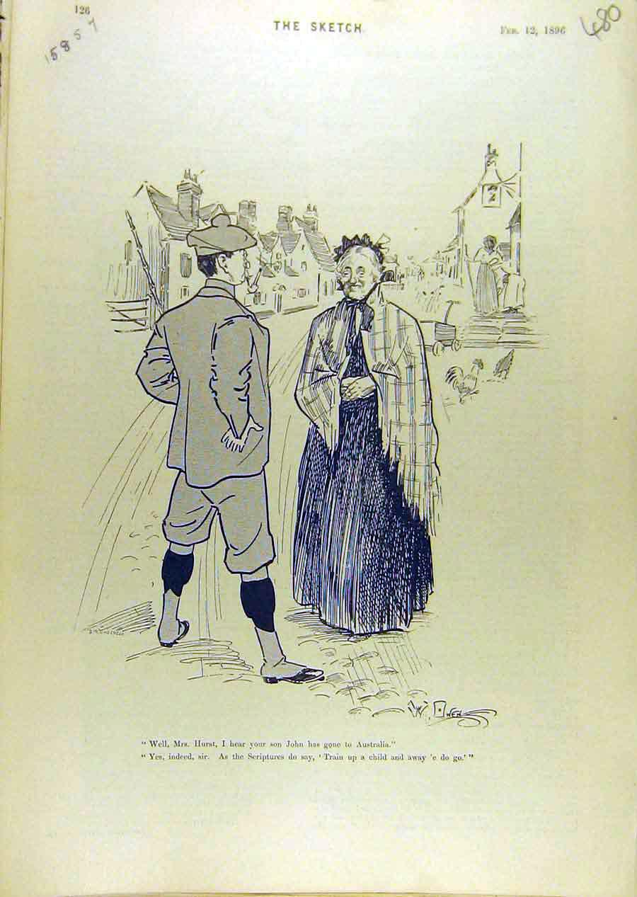 Print 1896 Comedy Sketch Lady Gent Street Australia 808671 Old Original