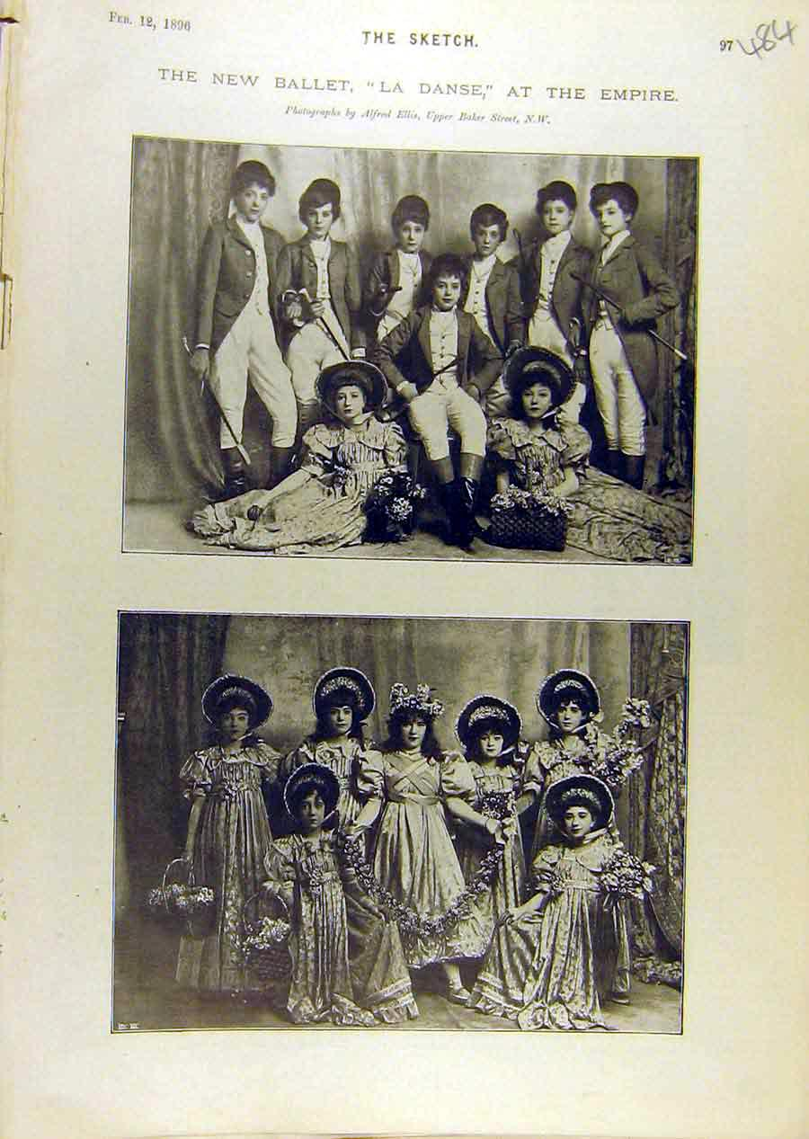 Print 1896 Theatre Ballet La-Danse Empire Cast Children 848671 Old Original