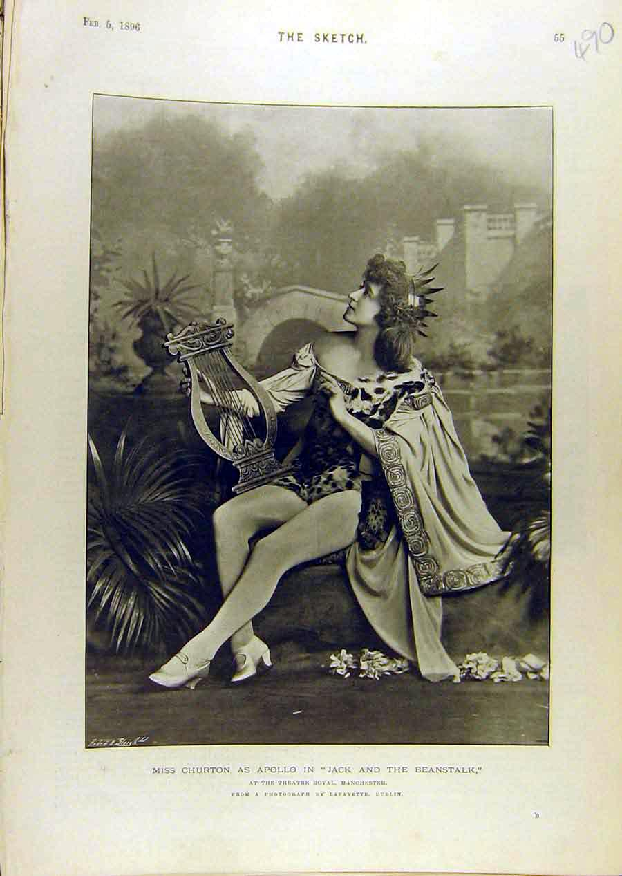 Print 1896 Portrait Churton Apollo Jack-Beanstalk Theatre 908671 Old Original