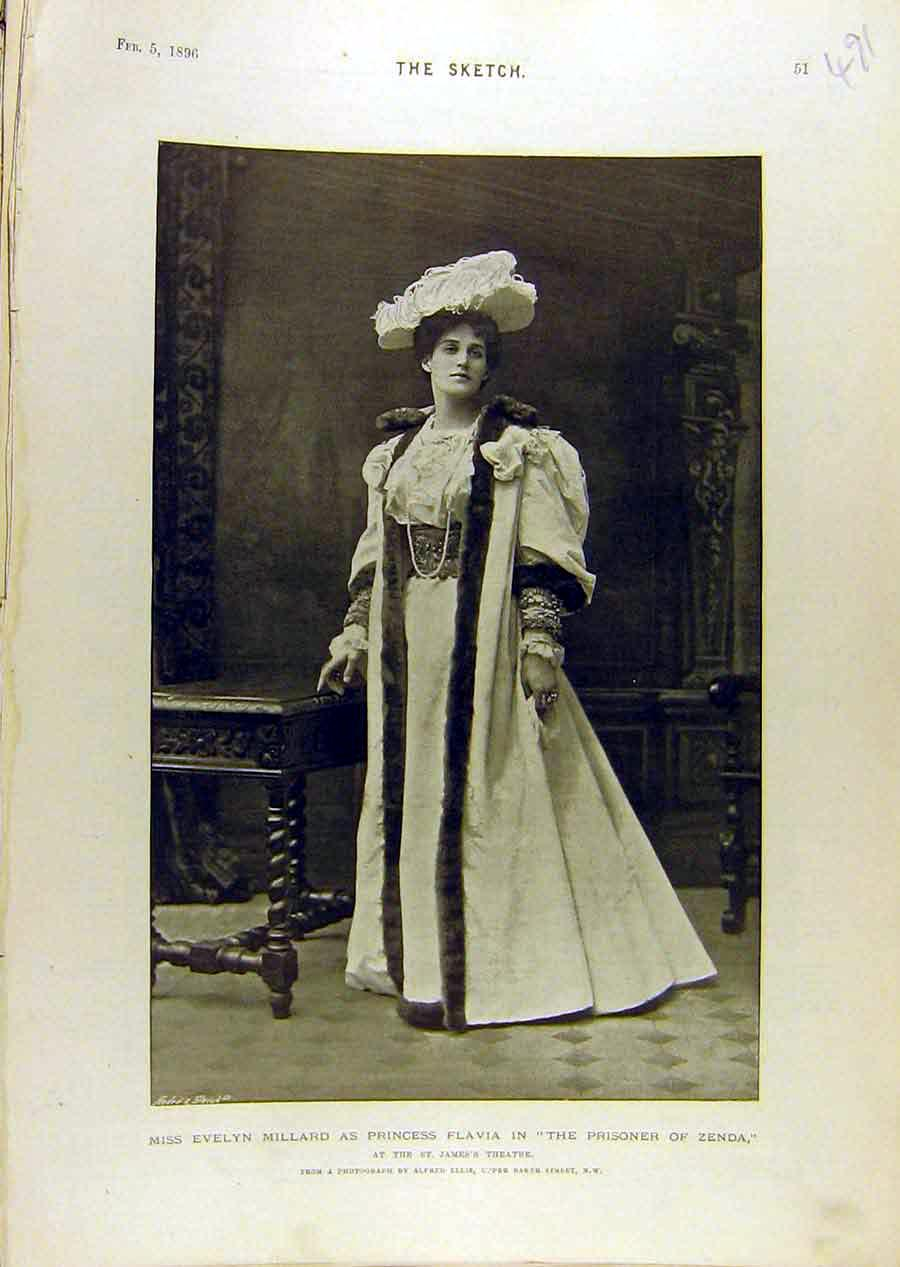 Print 1896 Portrait Evelyn Millard Flavia Zenda Theatre 918671 Old Original