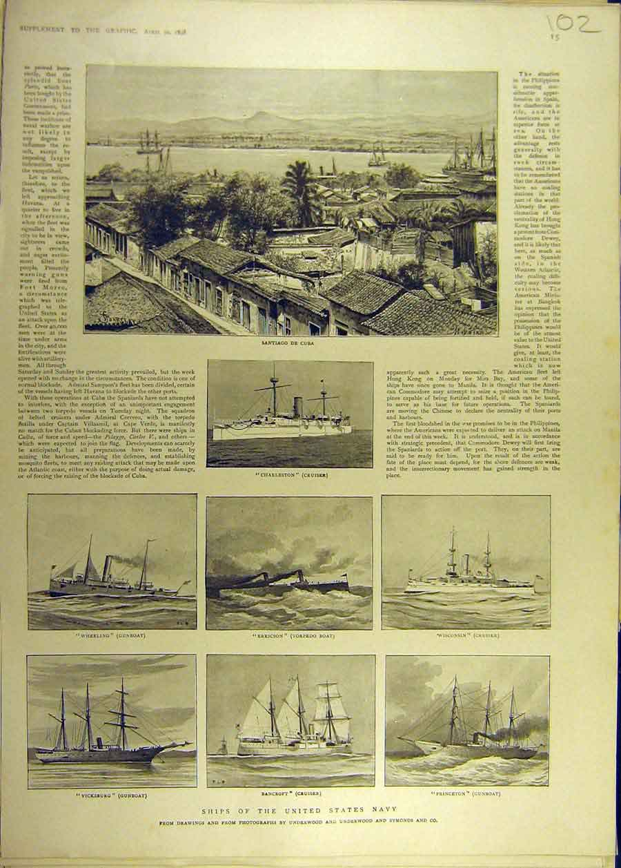 Print 1898 United States Navy Ships Cuba Cruiser Gunboat 028681 Old Original
