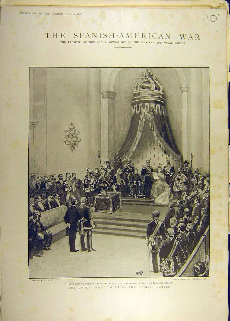[Print 1898 Spanish American War Queen Courts Opening 108681 Old Original]