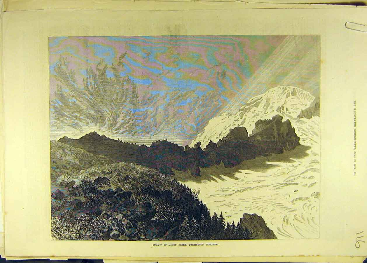 Print 1872 Summit Mount Baker Washington Mountain 168681 Old Original