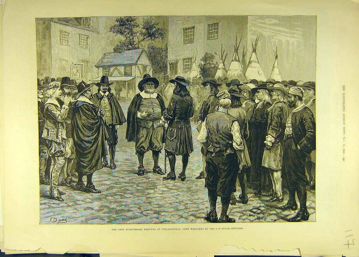 Print 1882 Penn Bicentenary Festival Dutch Philadelphia 178681 Old Original