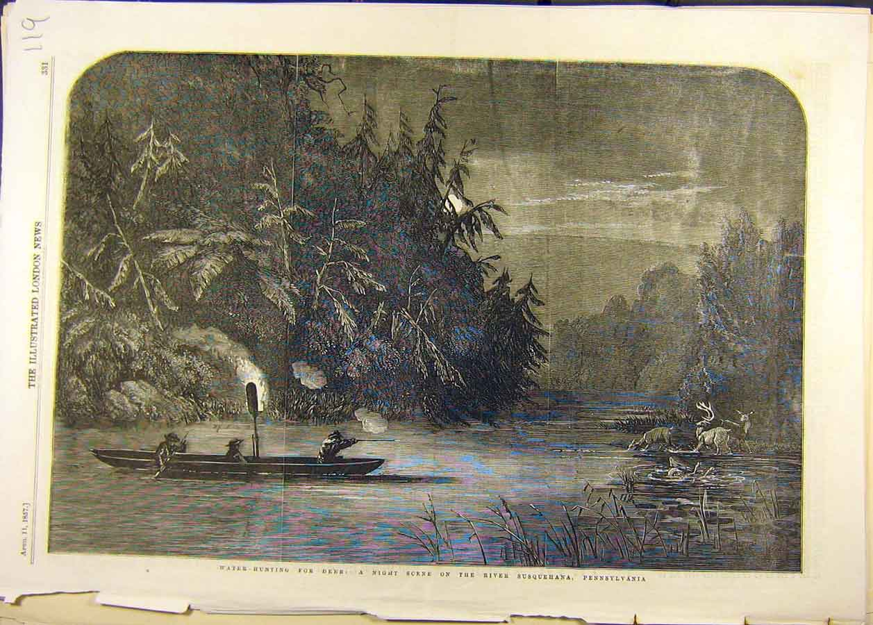 Print 1857 Water-Hunting Deer Night River Pennsylvania 198681 Old Original