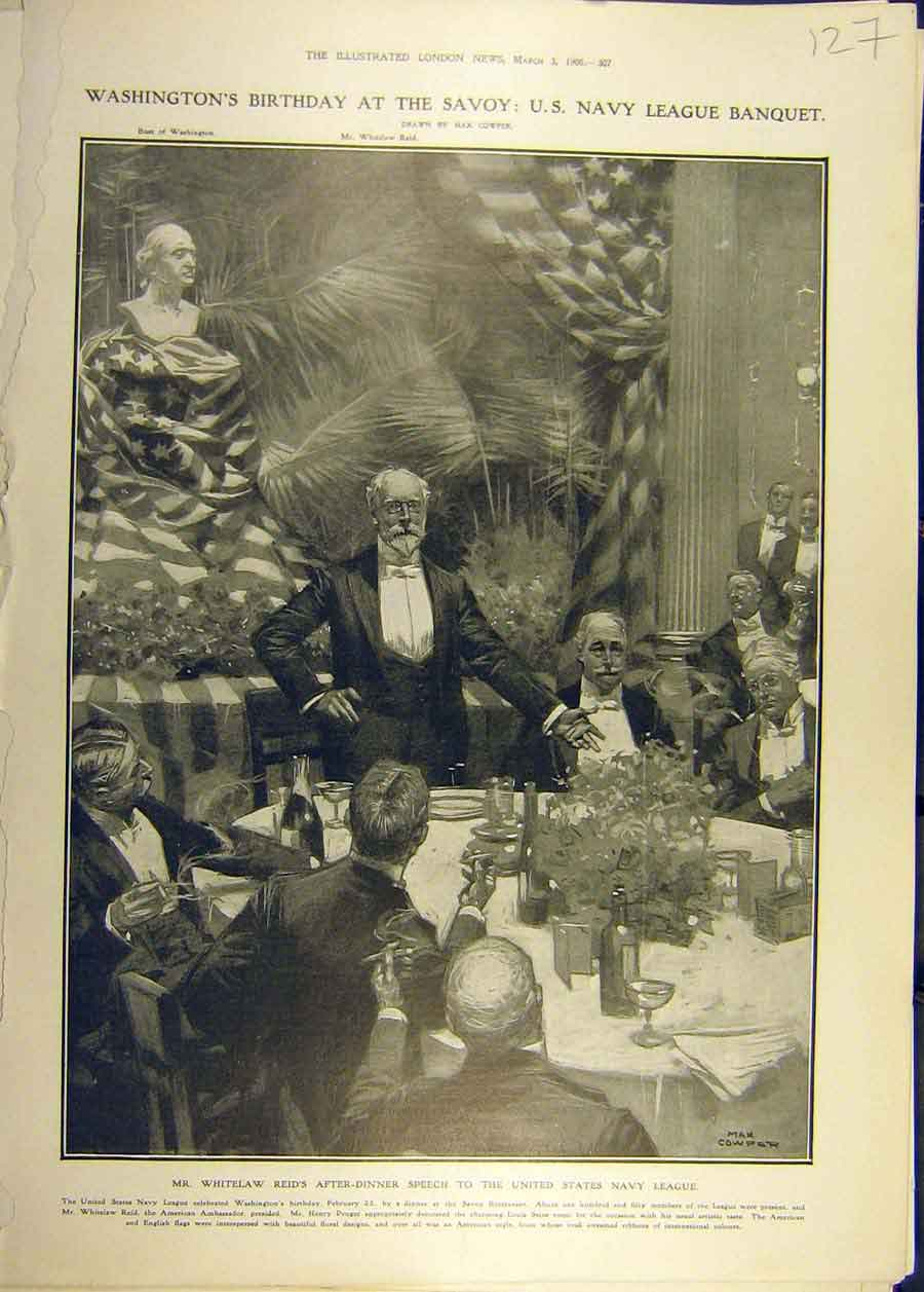 Print 1906 Washington Birthday Savoy Banquet Reid Navy 278681 Old Original