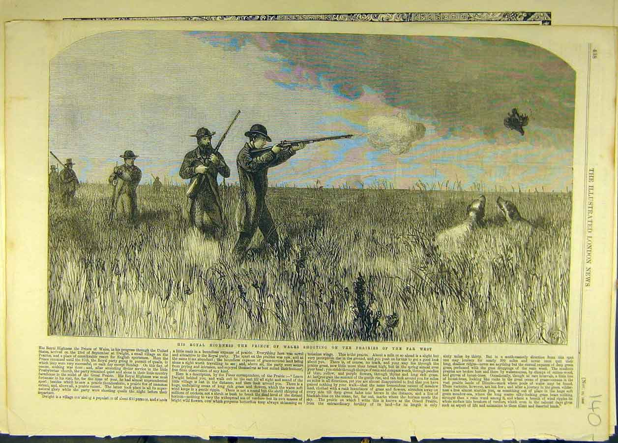 Print 1860 Royal Prince Wales Shoot Hunt Prairies Gun Dog 408681 Old Original