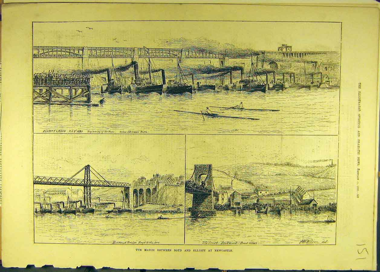 Print 1880 Boyd Elliott Newcastle Competition Bridge 518681 Old Original