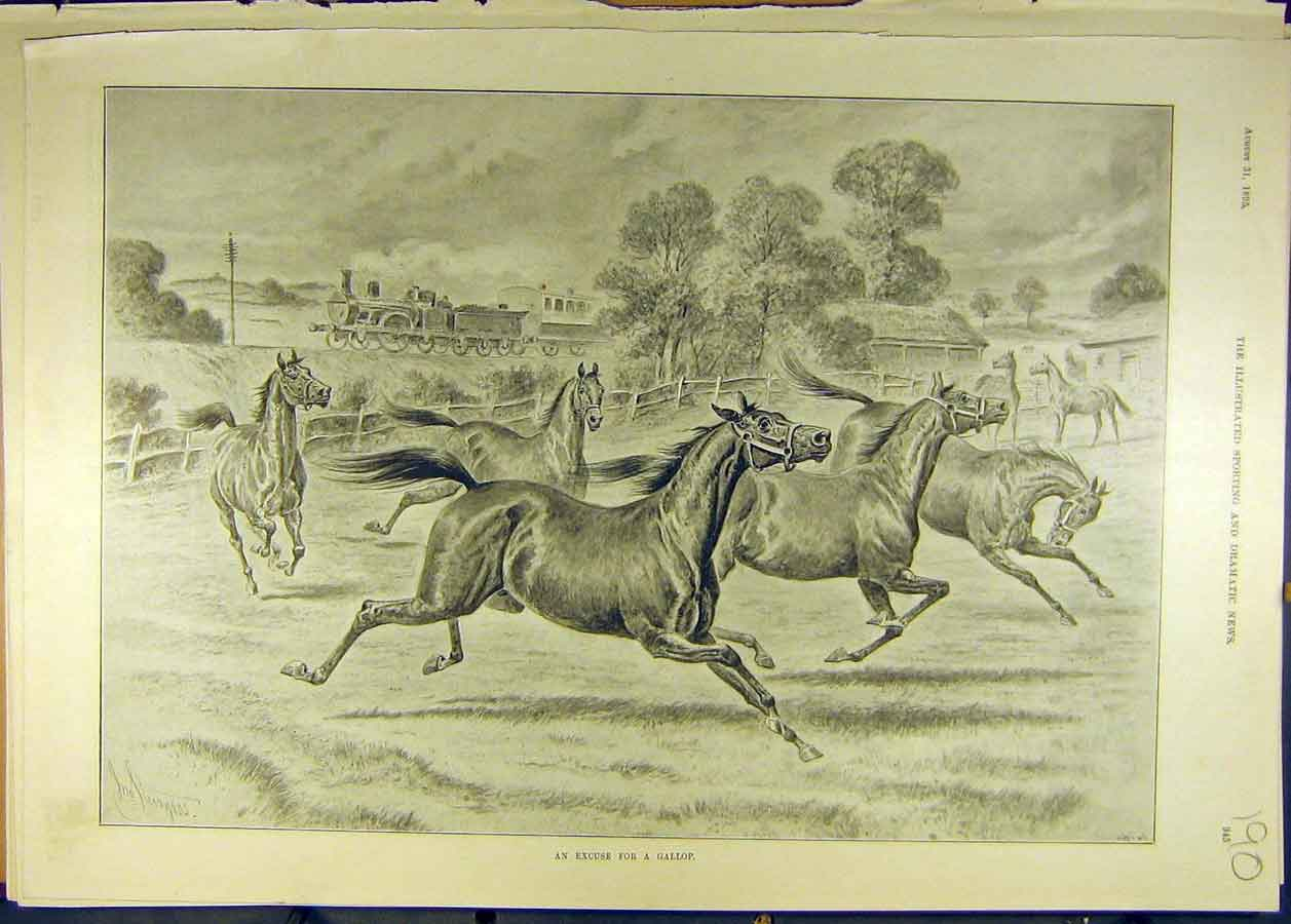 Print 1895 Gallop Horses Field Train Railway Horse Sturgess 908681 Old Original