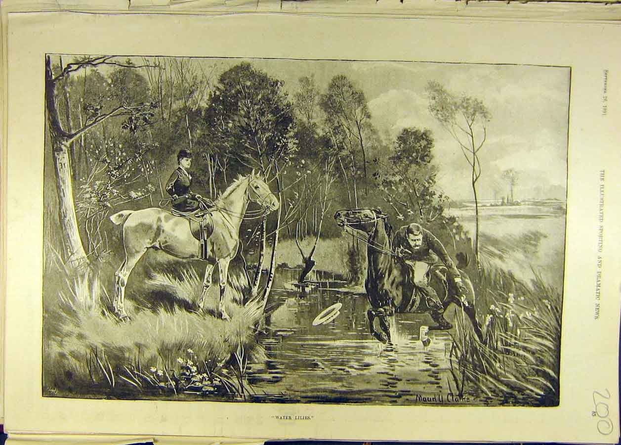 Print 1891 Water-Lillies Horse Rider Man Lady Pond Horses 008681 Old Original