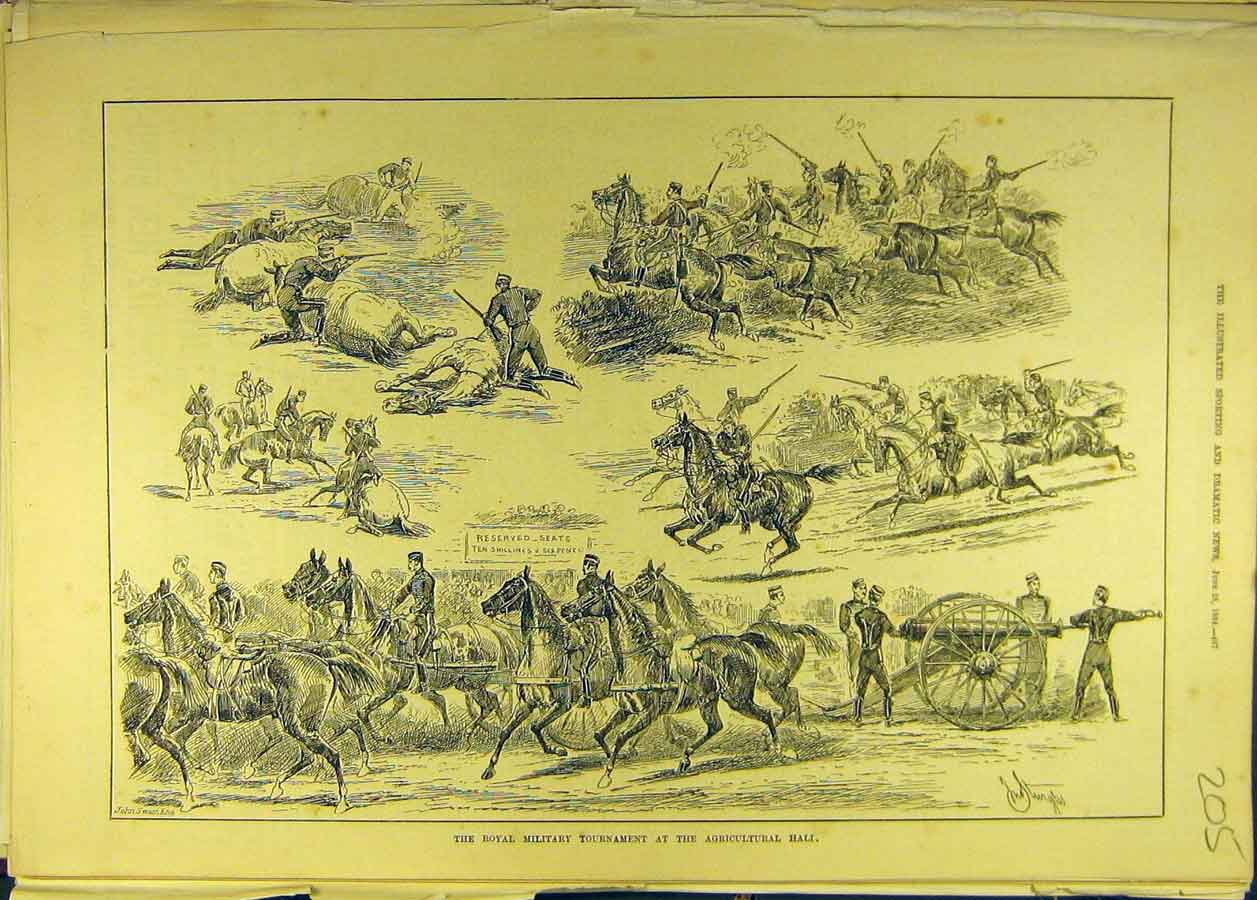 Print 1884 Royal Military Tournament Agricultural Cavalry 058681 Old Original