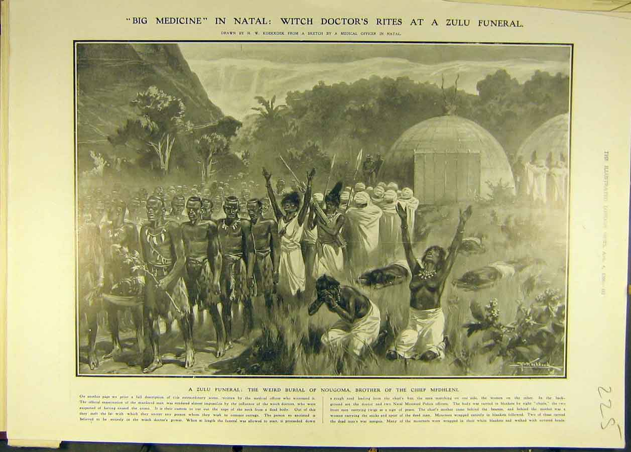 Print 1906 Natal Witch-Doctors Rites Zulu Funeral Nougoma 258681 Old Original