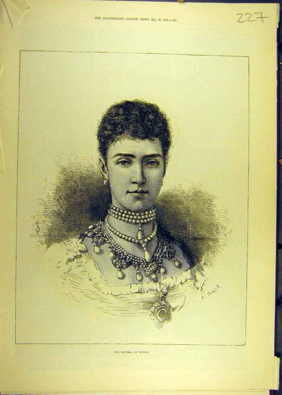 Print 1883 Empress Russia Portrait Royal Lady Social History 278681 Old Original