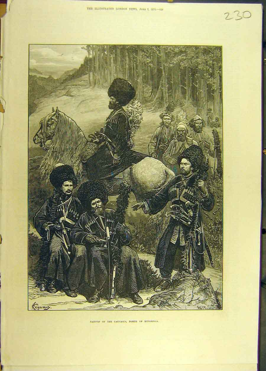 Print 1873 Natives Caucasus Mingrelia People Social History 308681 Old Original