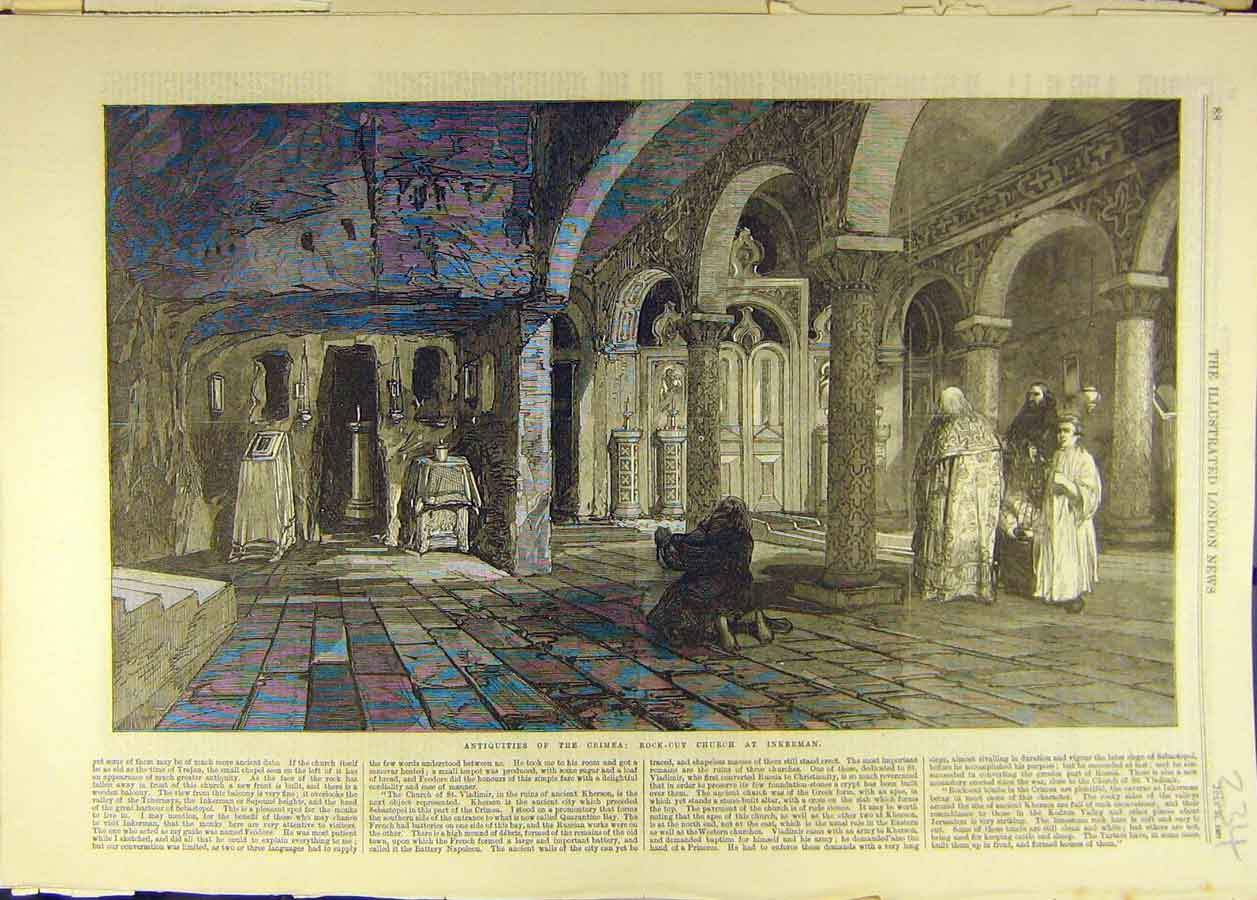 Print 1869 Antiquities Crimea Rock-Cut Church Inkerman 348681 Old Original