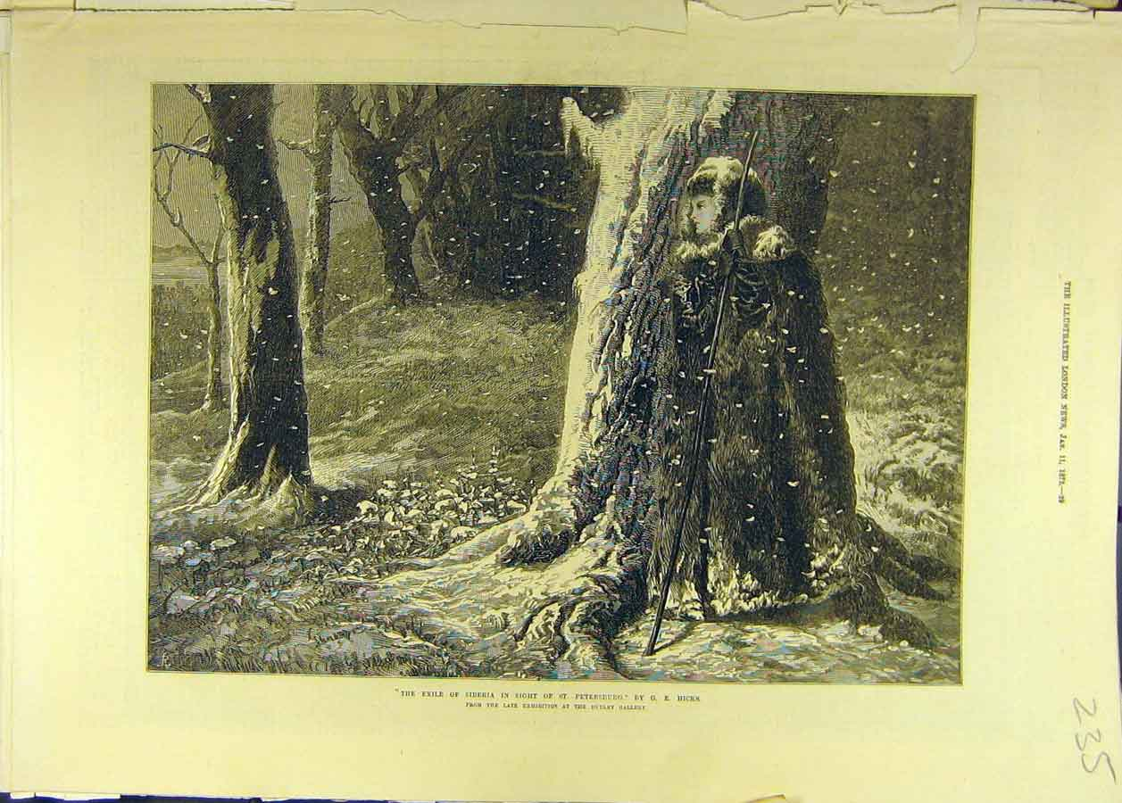 Print 1873 Exile Siberia St. Petersburg Hicks Lady Forest 358681 Old Original