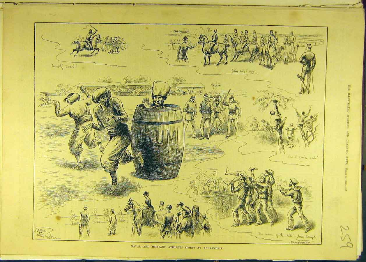 [Print 1883 Naval Military Athletic Alexandria Races Sport 598681 Old Original]