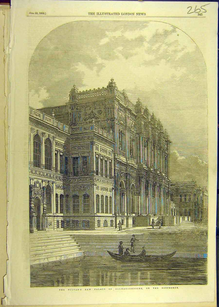 Print 1853 Sultan Palace Dolmabaghdsche Bosphorus Building 658681 Old Original