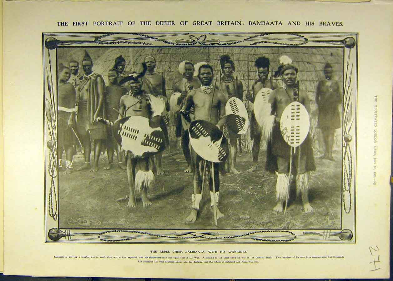 Print 1906 Portrait Bambaata Braves Rebel Chief Warriors 718681 Old Original
