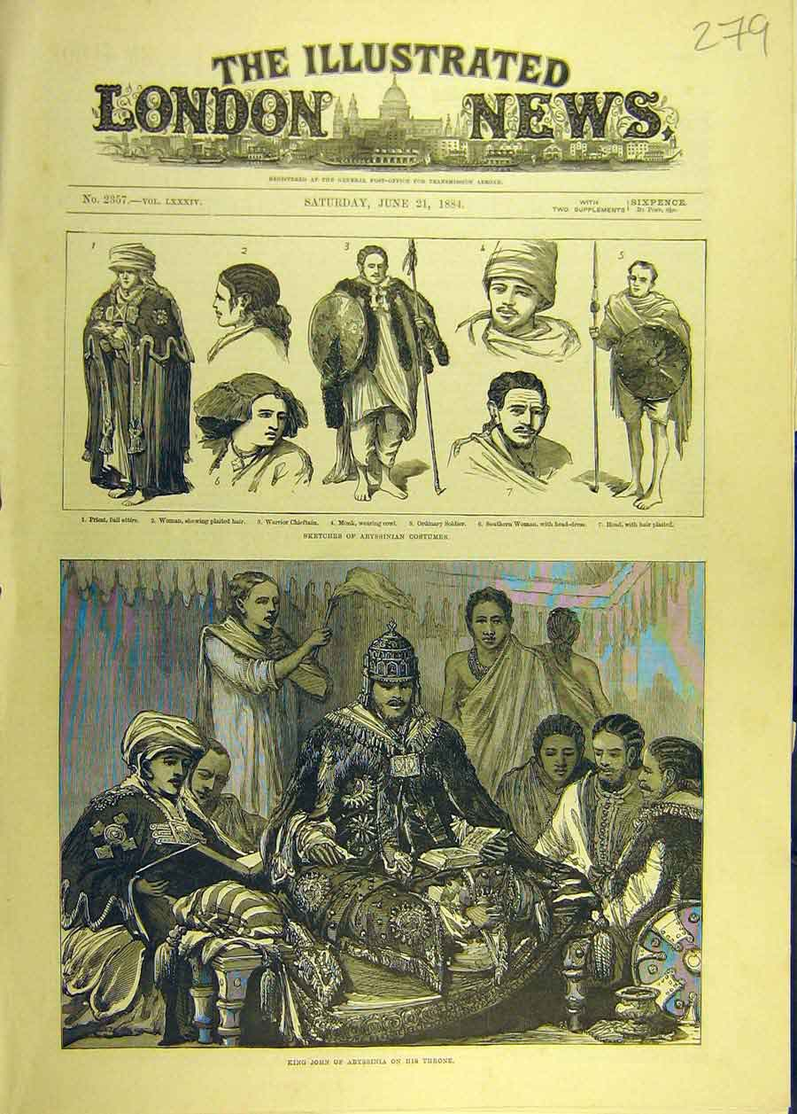 Print 1884 Sketches Abyssinian Costumes King John Throne 798681 Old Original