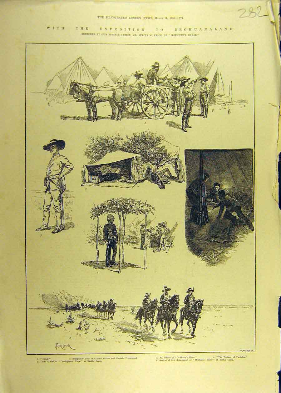 Print 1885 Expedition Bechuanaland Methuen'S Horse Africa 828681 Old Original