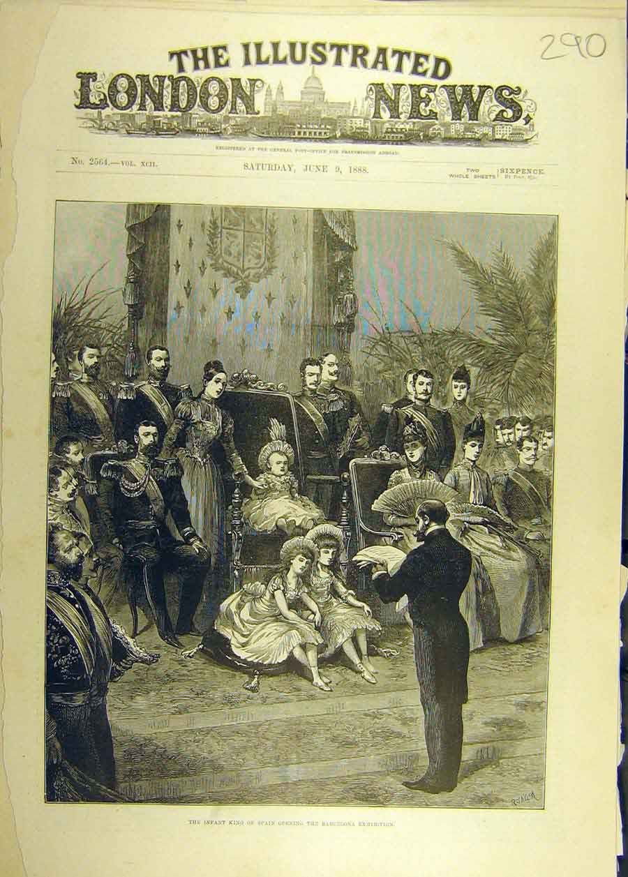 [Print 1888 Infant-King Spain Barcelona Exhibition 908681 Old Original]