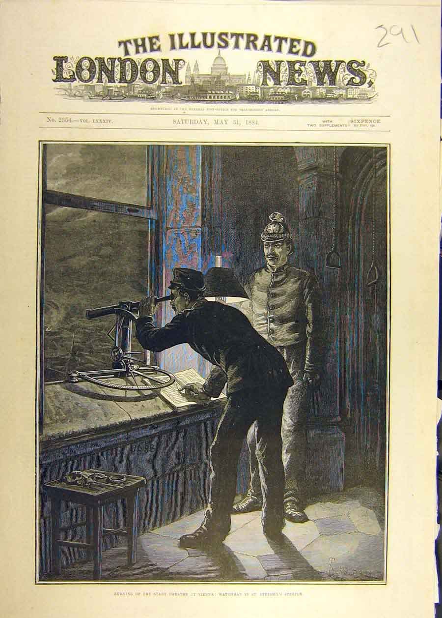 Print 1884 Stadt Theatre Vienna Fire Watchmen Steeple 918681 Old Original