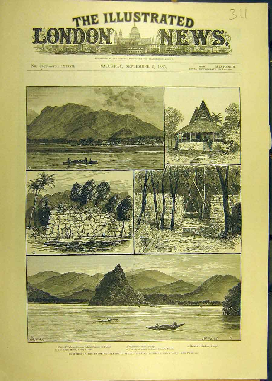 Print 1885 Sketches Carolione Islands Germany-Spain Strong'S 118681 Old Original