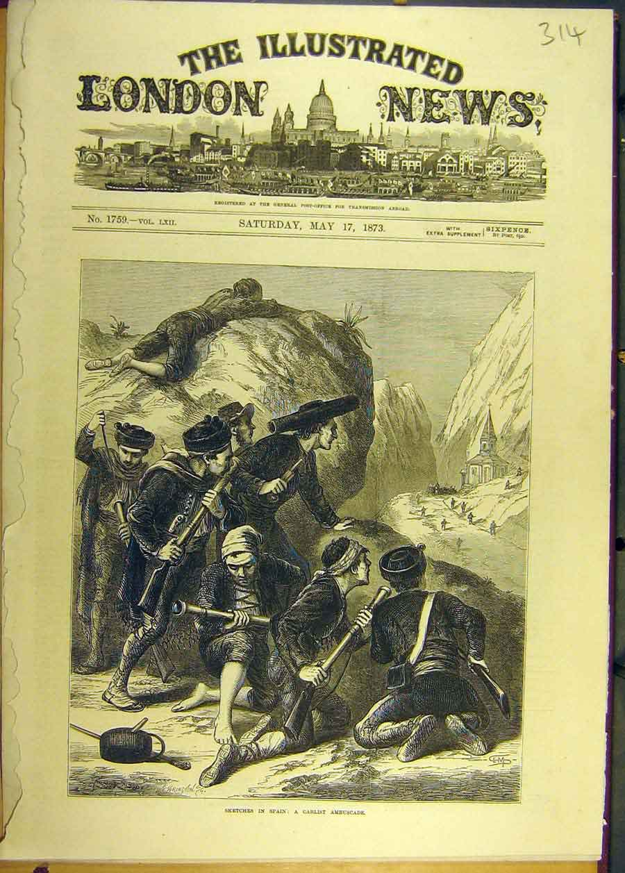 [Print 1873 Sketches Spain Carlist Ambuscade Spanish 148681 Old Original]