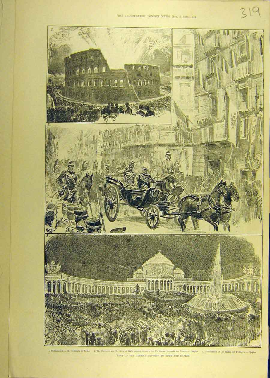 Print 1888 Visit Royal German Emperor Rome Naples 198681 Old Original