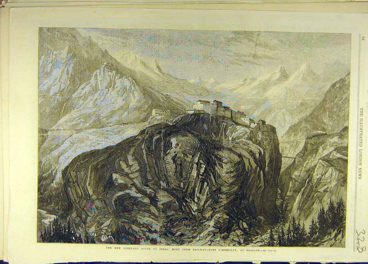 Print 1869 Mountain Pass India Mont Cenis Railway Brabans 288681 Old Original