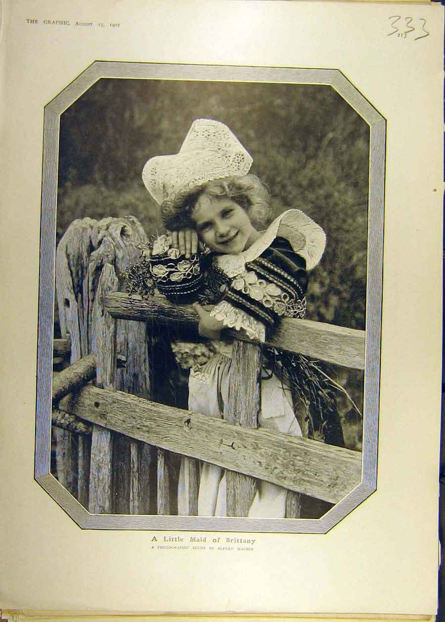 Print 1907 Portrait Little Maid Brittany Photo Machin Fashion 338681 Old Original