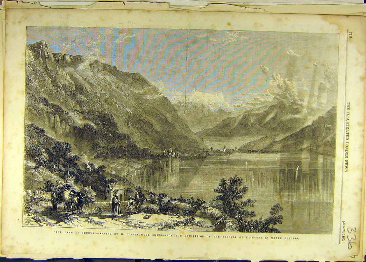 Print 1856 Lake Geneva Collingwood-Smith Painting Fine Art 368681 Old Original
