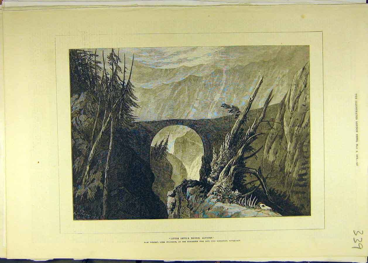 Print 1872 Little Devil'S Bridge Altdorf Painting Fine Art 398681 Old Original