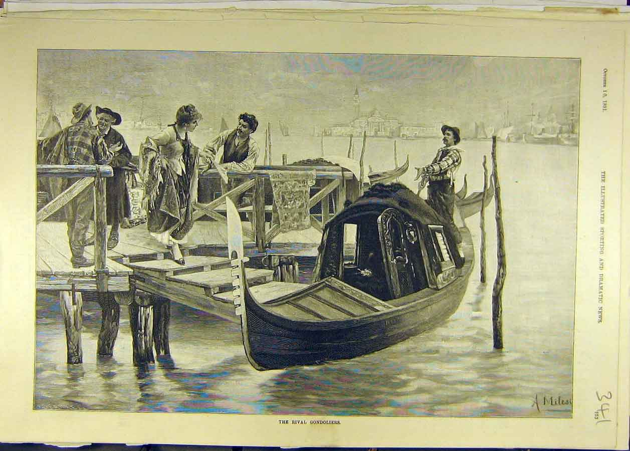 Print 1891 River Gondoliers Venice Italy Boat Canal 418681 Old Original