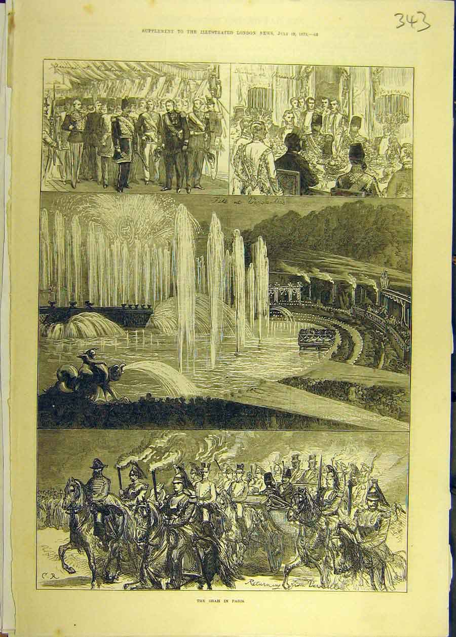 Print 1873 Shah Paris Visit Royal Banquet Guards 438681 Old Original
