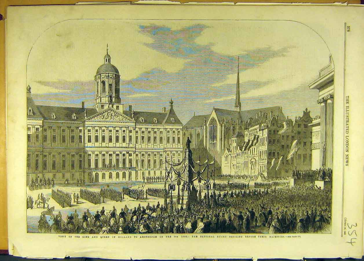 Print 1861 King Queen Holland Visit Amsterdam National Guard 548681 Old Original