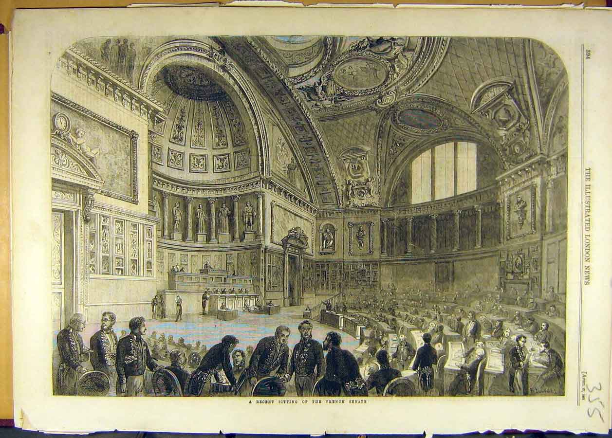 Print 1861 French Senate Sitting Building Parliament 558681 Old Original