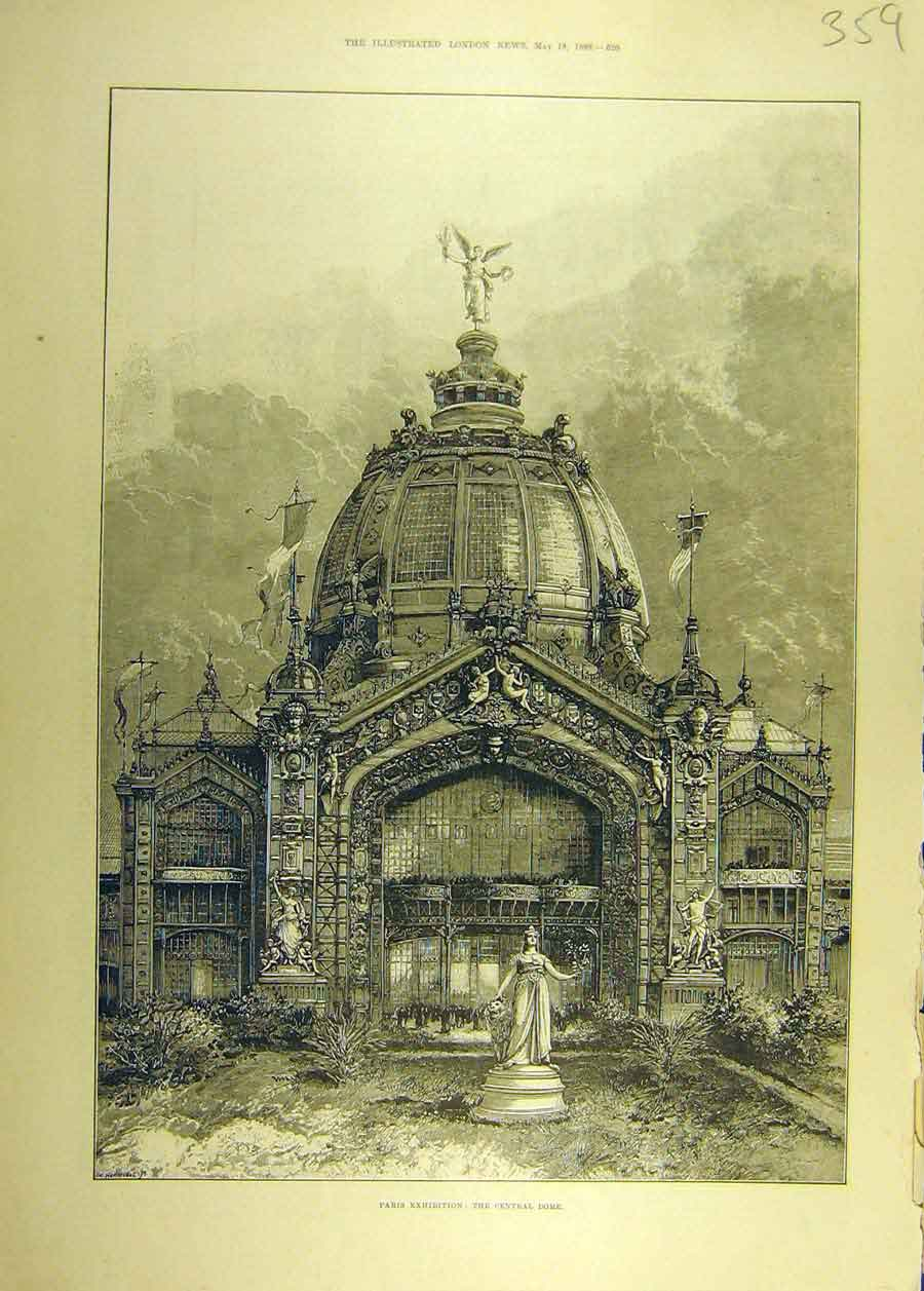 Print 1889 Paris Exhibition Central Dome Building 598681 Old Original