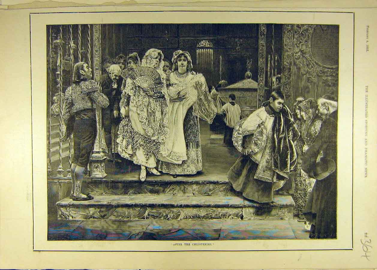 Print 1893 Christening Church Fashion Dress Ladies 648681 Old Original