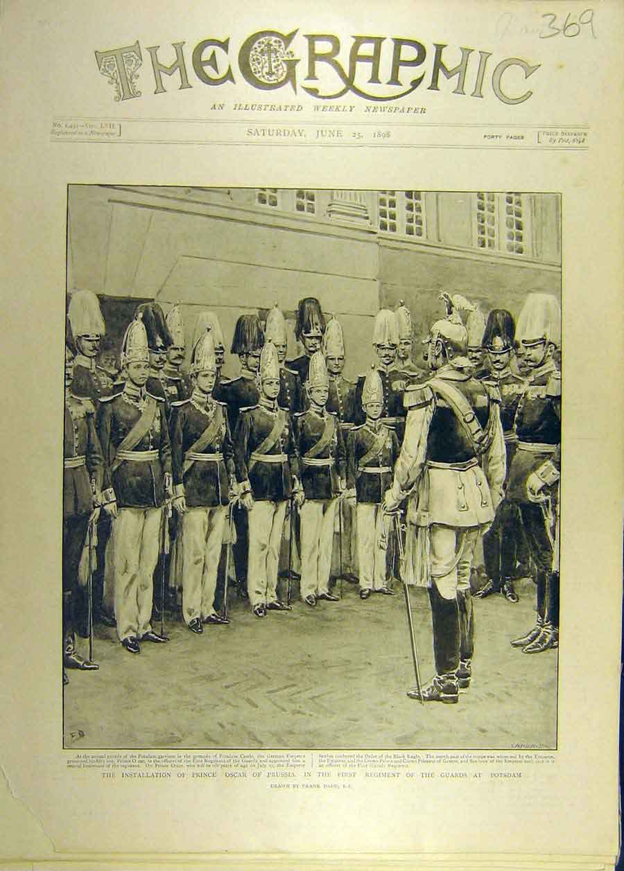 Print 1898 Prince Oscar Prussia Regiment Potsdam Guards 698681 Old Original