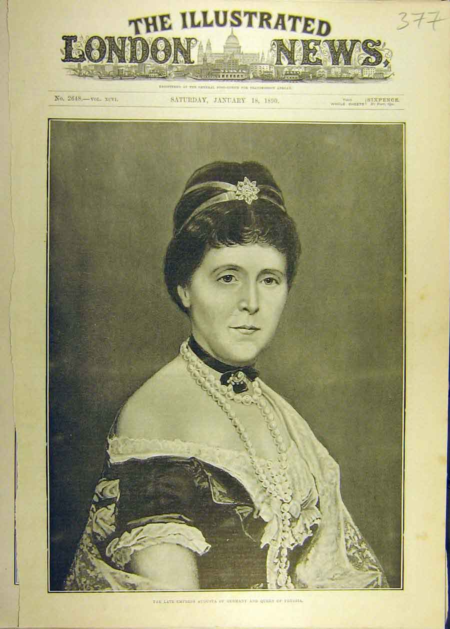 Print 1890 Portrait Empress Augusta Germany Queen Prussia 778681 Old Original