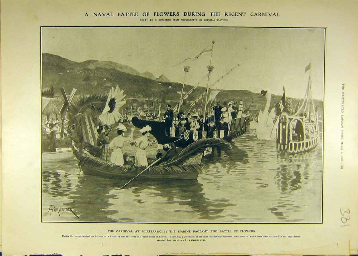 Print 1906 Navy Battle Flowers Carnival Villefranche 818681 Old Original
