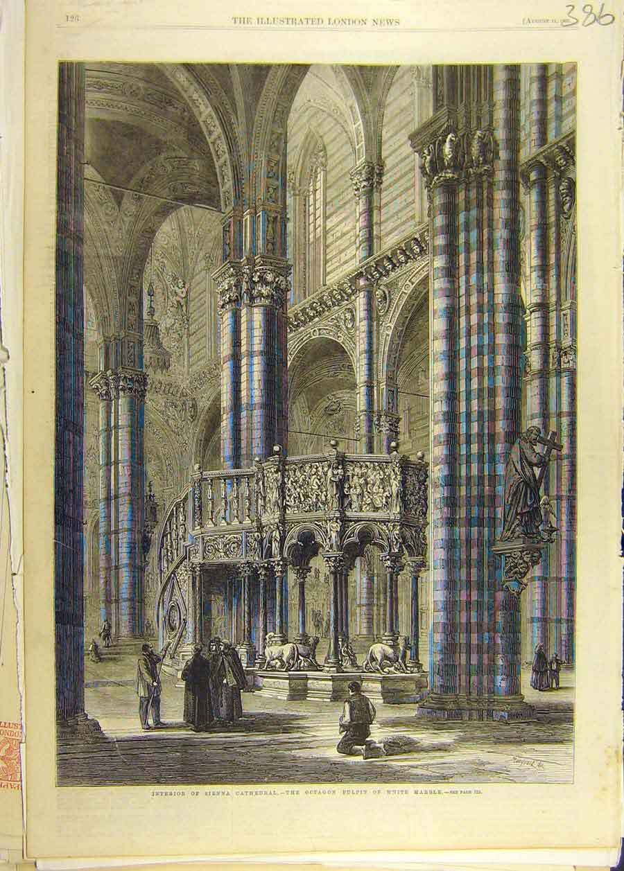 Print 1860 Interior Sienna Cathedral Pulpit Marble Holy 868681 Old Original